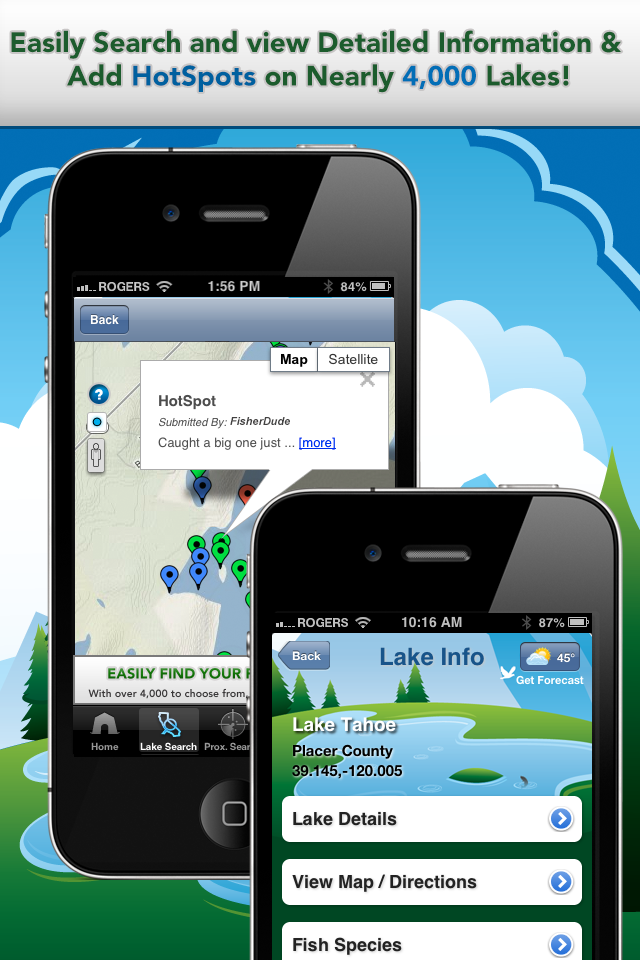 iFish California App Lake Details & HotSpots Screens