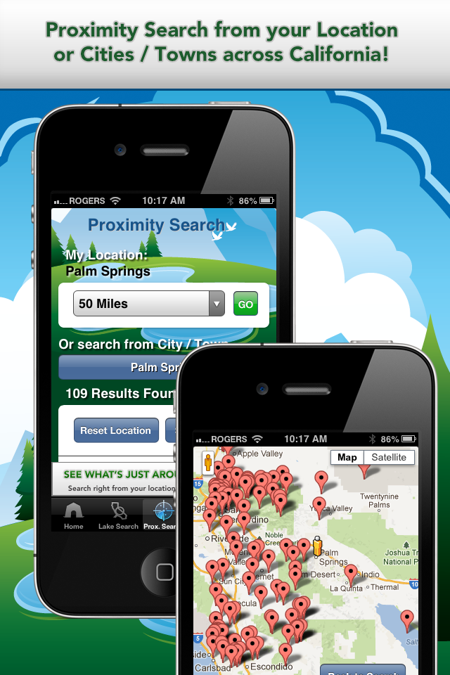 iFish California App Proximity Search & Map View Screens